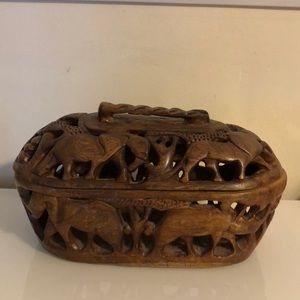 Hand Carved Bowl & Cover from Africa